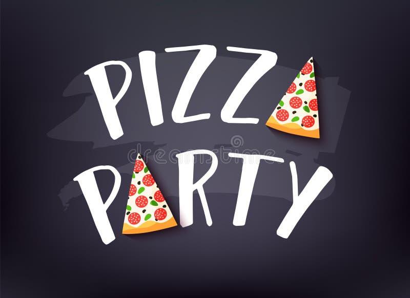Insegna del partito della pizza con testo e la fetta di pizza su fondo scuro Scheda di vettore illustrazione di stock