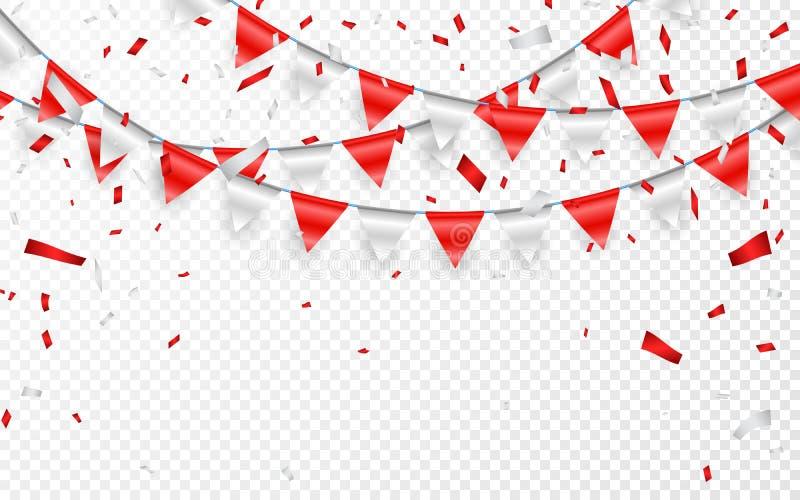 Insegna del partito di celebrazione Coriandoli della stagnola rossa e d'argento e ghirlanda della bandiera Illustrazione di vetto illustrazione di stock