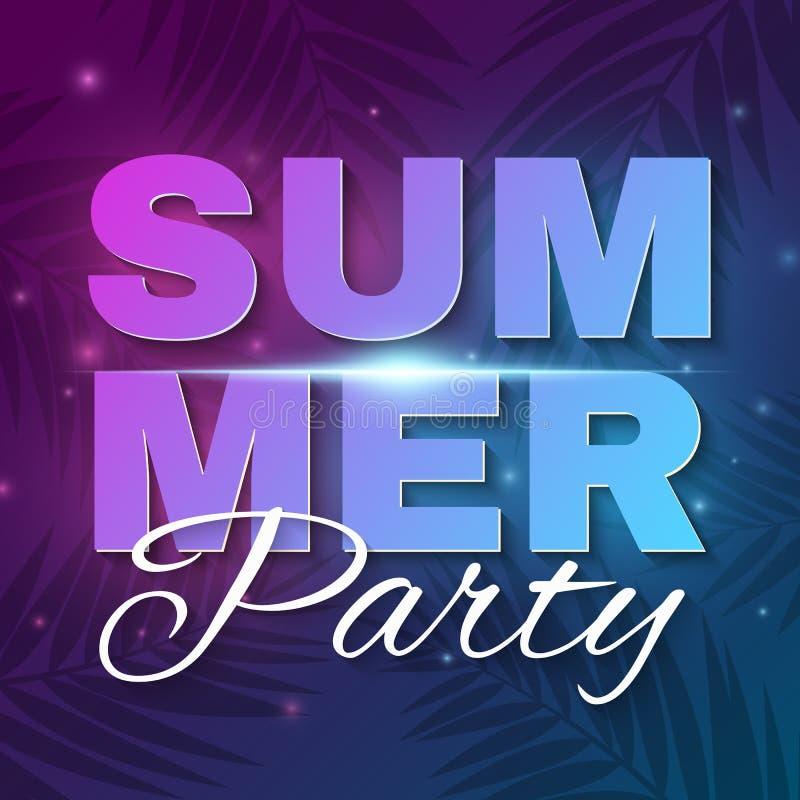 Insegna del partito di estate Insegna al neon d'ardore del testo con le luci luminose di volo Fondo porpora blu scuro con le palm illustrazione di stock