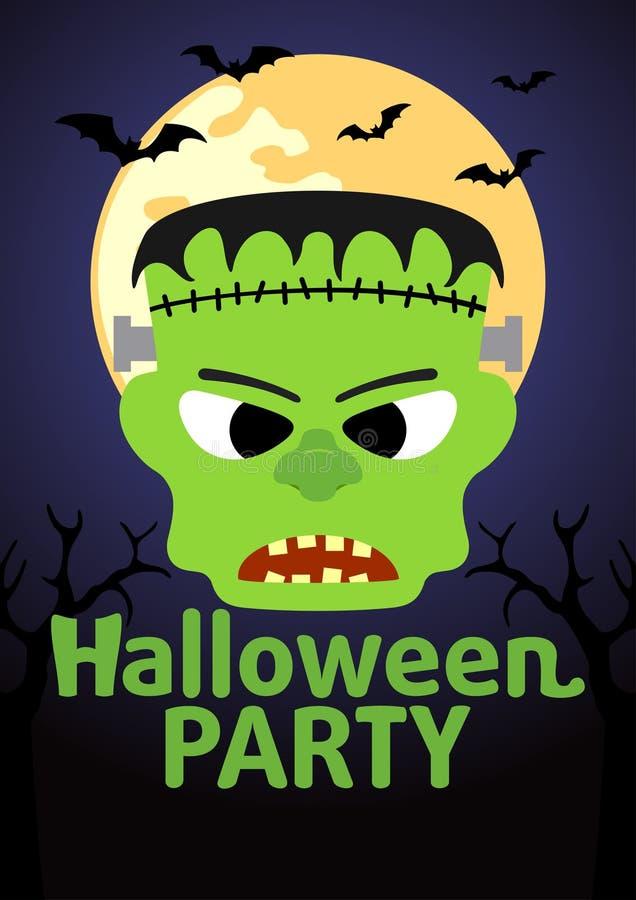 Insegna del partito di Halloween con Frankenstein illustrazione di stock
