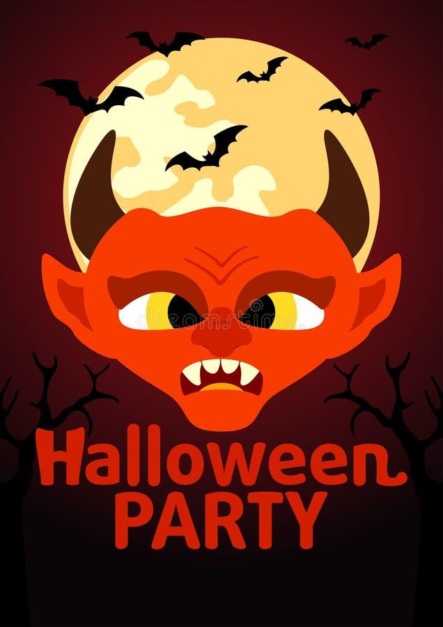 Insegna del partito di Halloween con il diavolo illustrazione di stock