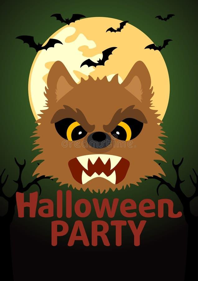 Insegna del partito di Halloween con il lupo mannaro illustrazione vettoriale
