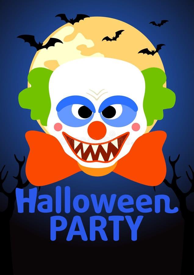 Insegna del partito di Halloween con il pagliaccio illustrazione di stock
