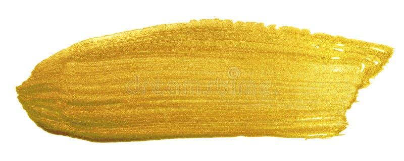 Insegna del pennello di colore dell'oro Macchia dorata acrilica del colpo della sbavatura su fondo bianco Testo brillante dell'or fotografia stock