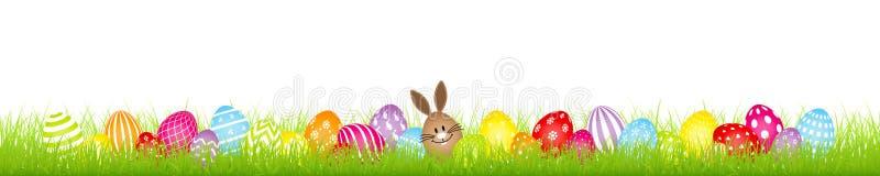 Insegna del prato delle uova di Pasqua di Bunny And Twenty Eight Colorful dell'uovo di Brown royalty illustrazione gratis