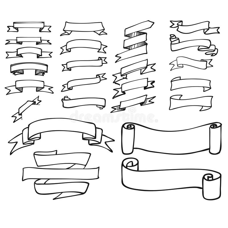 Insegna del profilo e raccolta semplici del nastro illustrazione vettoriale