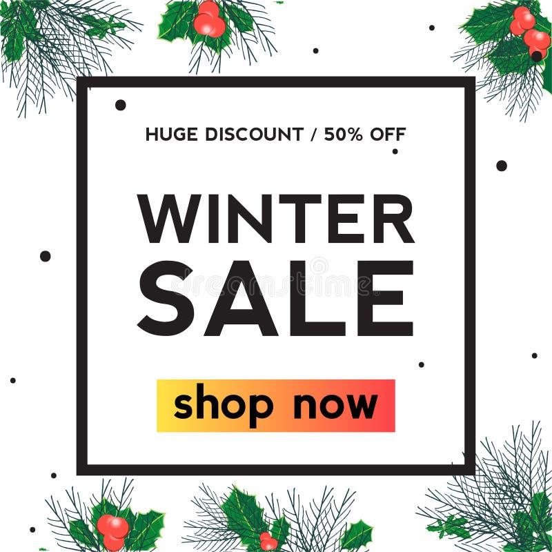 Insegna del quadrato di vendita di inverno della foglia dell'agrifoglio royalty illustrazione gratis