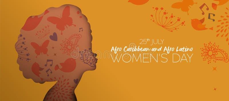 Insegna del ritaglio di giorno delle donne di afro i Caraibi e del latino royalty illustrazione gratis