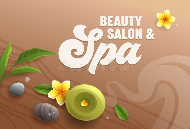 Insegna del salone di bellezza, vista superiore degli attributi della stazione termale come candela dell'aroma, pietre di massagg illustrazione vettoriale