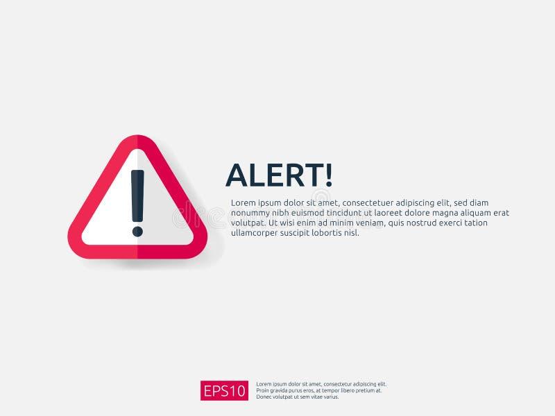 insegna del segno di avviso di attenzione con il simbolo del punto esclamativo il concetto per il pericolo su Internet, la tecnol royalty illustrazione gratis