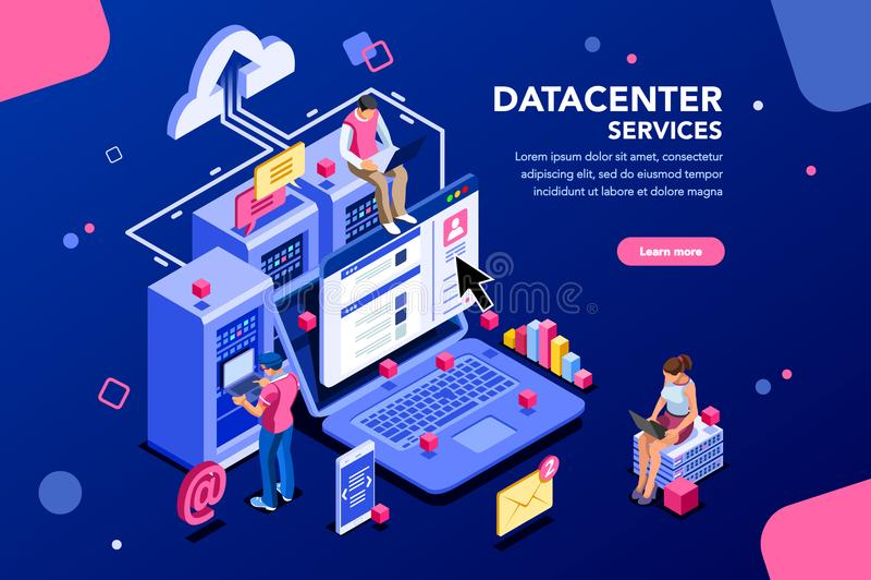 Insegna del sito Web di concetto del collegamento a Internet di centro dati illustrazione vettoriale