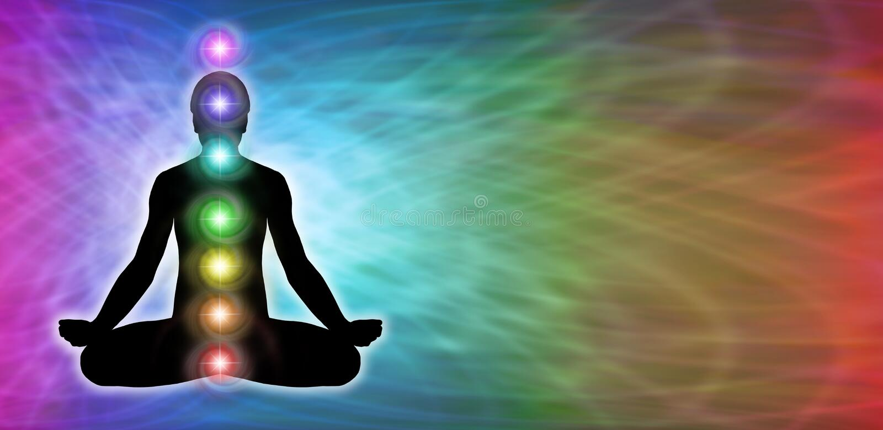 Insegna del sito Web di meditazione di Chakra dell'arcobaleno illustrazione vettoriale