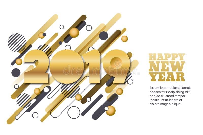 Insegna del taglio di vettore del buon anno 2019 o cartolina d'auguri di carta Numeri dorati sul fondo geometrico di forme di mot royalty illustrazione gratis