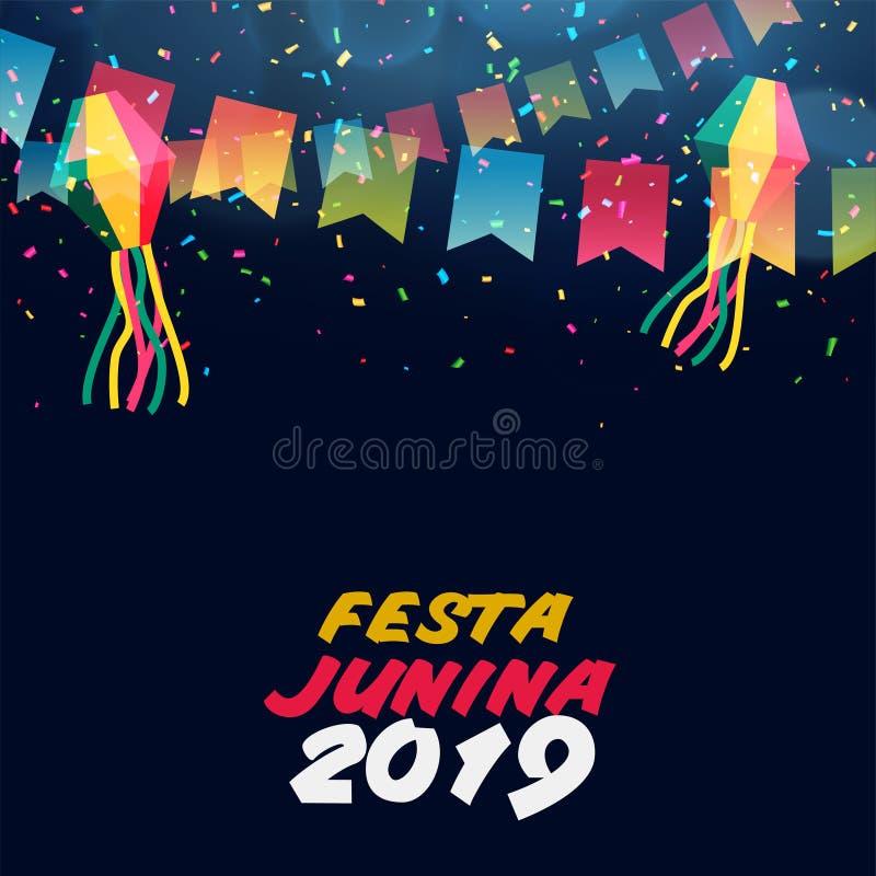 Insegna dell'America latina di celebrazione di junina di festa illustrazione di stock