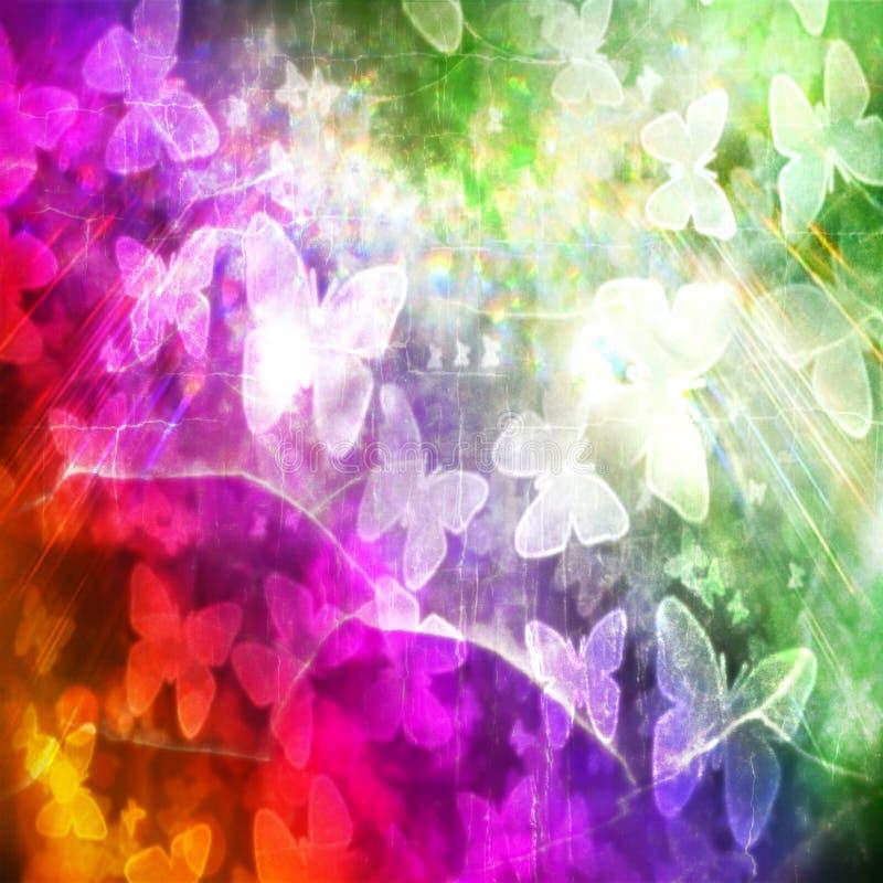 Insegna dell'annata di lerciume di struttura dell'arcobaleno delle farfalle immagini stock libere da diritti
