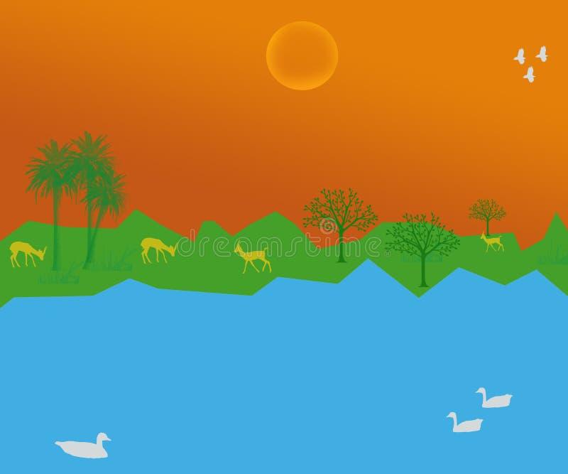 Insegna dell'illustrazione degli animali selvatici del pascolo delle anatre della zona umida illustrazione vettoriale