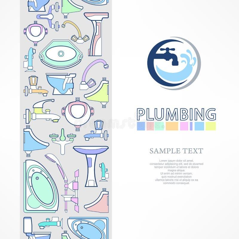 Insegna dell'impianto idraulico con il logo per progettazione illustrazione di stock