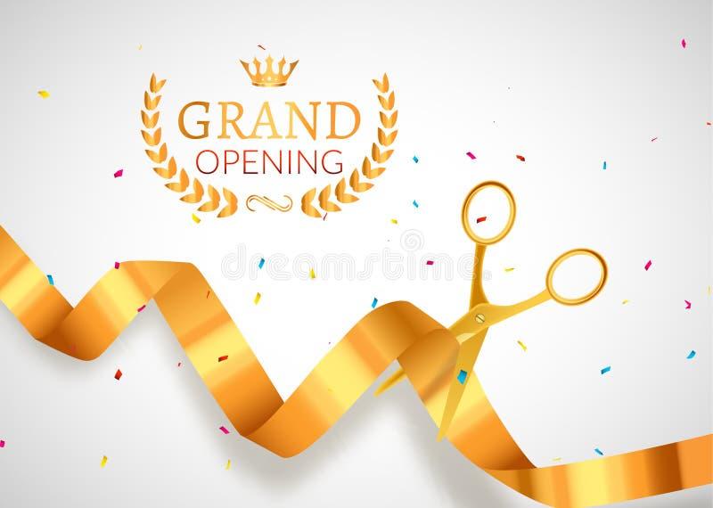 Insegna dell'invito di grande apertura Evento dorato di cerimonia del taglio del nastro Manifesto della carta di celebrazione di  illustrazione vettoriale