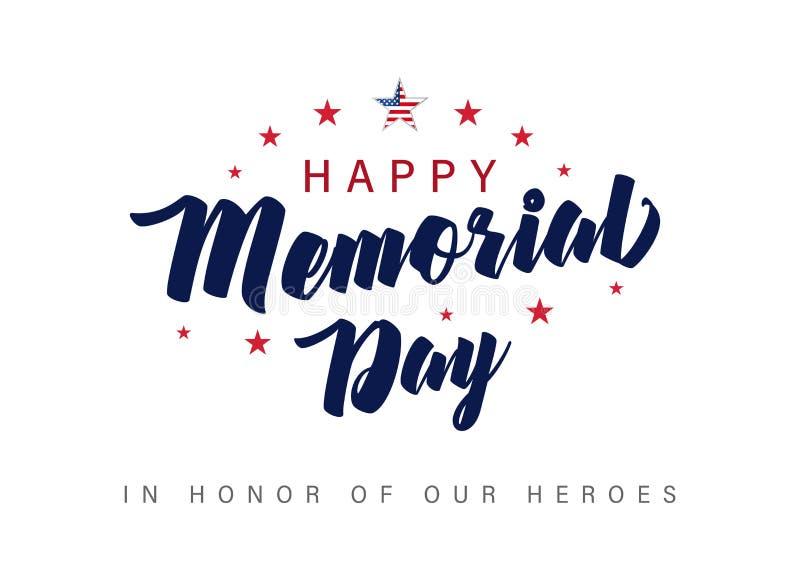 Insegna dell'iscrizione di Memorial Day In onore dei nostri eroi