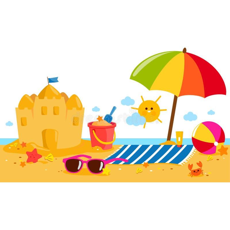 Insegna dell'isola di vacanze estive con l'ombrello di spiaggia, l'asciugamano, un castello di sabbia ed altri giocattoli della s illustrazione vettoriale