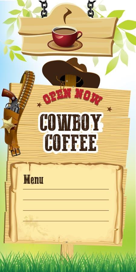 Insegna della caffetteria di stile del cowboy immagine stock libera da diritti