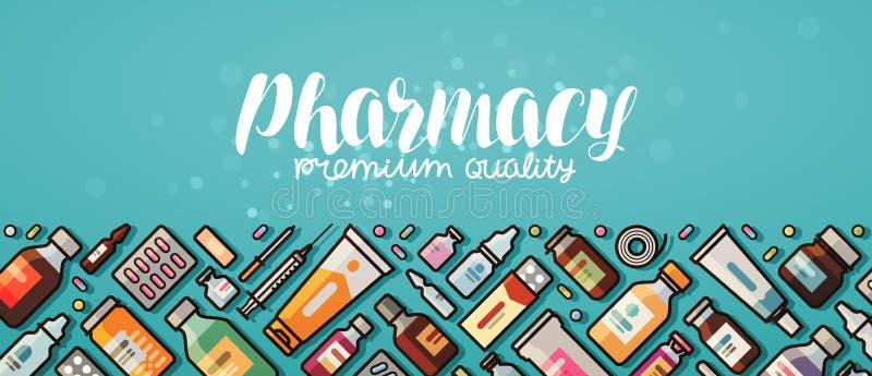 Insegna della farmacia Medicina, rifornimenti medici, concetto dell'ospedale Illustrazione di vettore nello stile piano illustrazione vettoriale