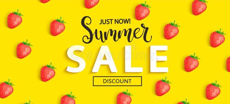 Insegna della fragola di vendita di estate su fondo giallo royalty illustrazione gratis