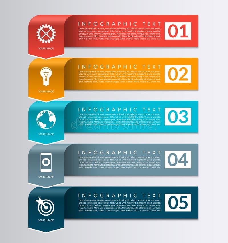 Insegna della freccia per il infographics di affari modello di progettazione di 5 punti illustrazione di stock