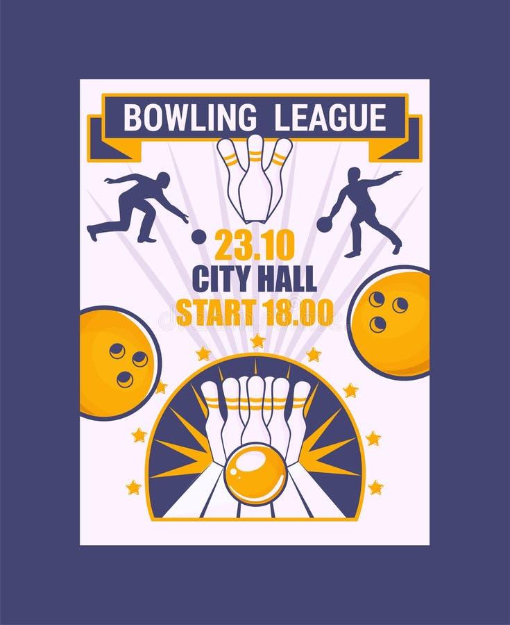 Insegna della lega di bowling, illustrazione di vettore del manifesto Palla che si schianta nei perni, ottenenti colpo Comune lan illustrazione vettoriale