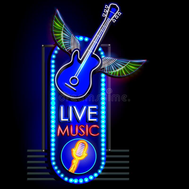 Insegna della luce al neon per Live Music royalty illustrazione gratis