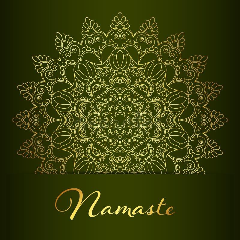 Insegna della mandala di Namaste illustrazione di stock