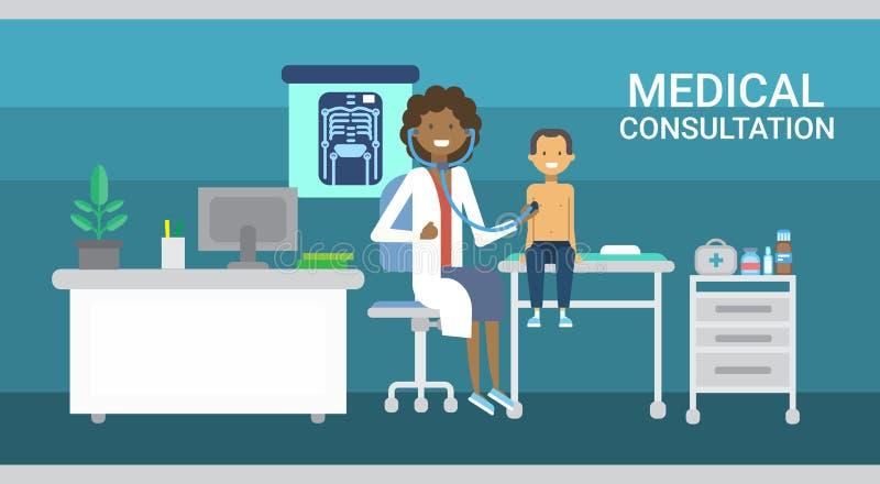 Insegna della medicina di servizio dell'ospedale delle cliniche di sanità di consultazione del dottore Examining Patient Medical illustrazione di stock