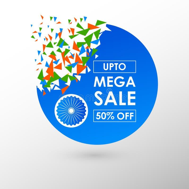 Insegna della pubblicità di promozione di vendita per il 26 gennaio, giorno felice della Repubblica dell'India illustrazione di stock