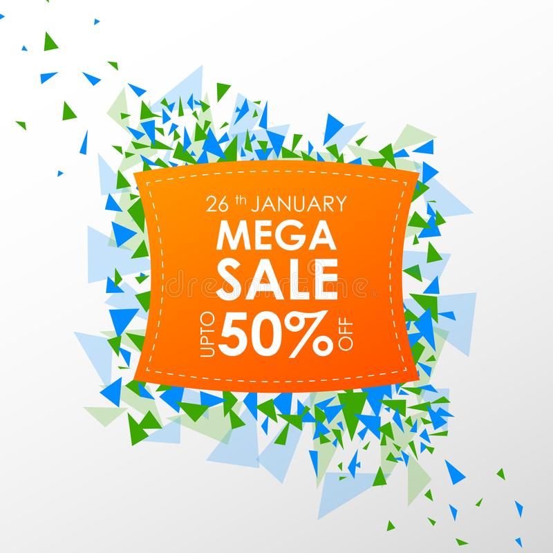 Insegna della pubblicità di promozione di vendita per il 26 gennaio, giorno felice della Repubblica dell'India illustrazione vettoriale