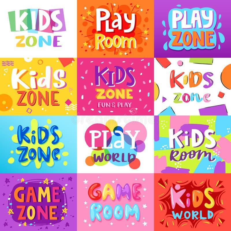 Insegna della stanza dei giochi dei bambini di vettore della stanza del gioco nello stile del fumetto per l'insieme dell'illustra illustrazione vettoriale