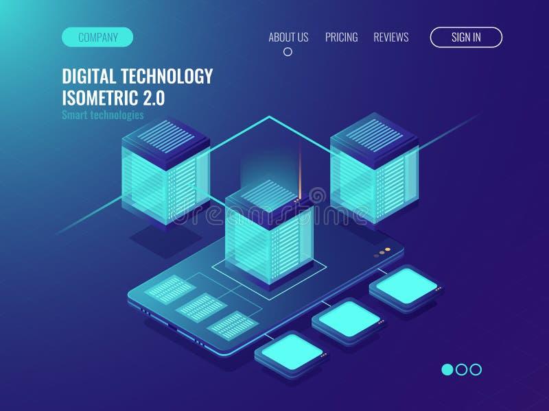 Insegna della stanza del server, concetto di connception della base di dati di centro dati, sviluppo di applicazioni del telefono illustrazione di stock