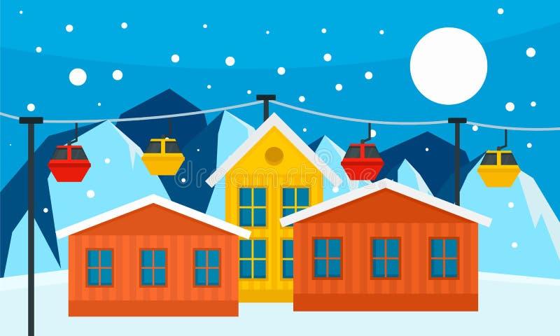 Insegna della stazione sciistica della montagna, stile piano royalty illustrazione gratis