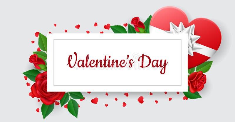 Insegna della struttura del biglietto di S. Valentino con il regalo e la rosa illustrazione vettoriale