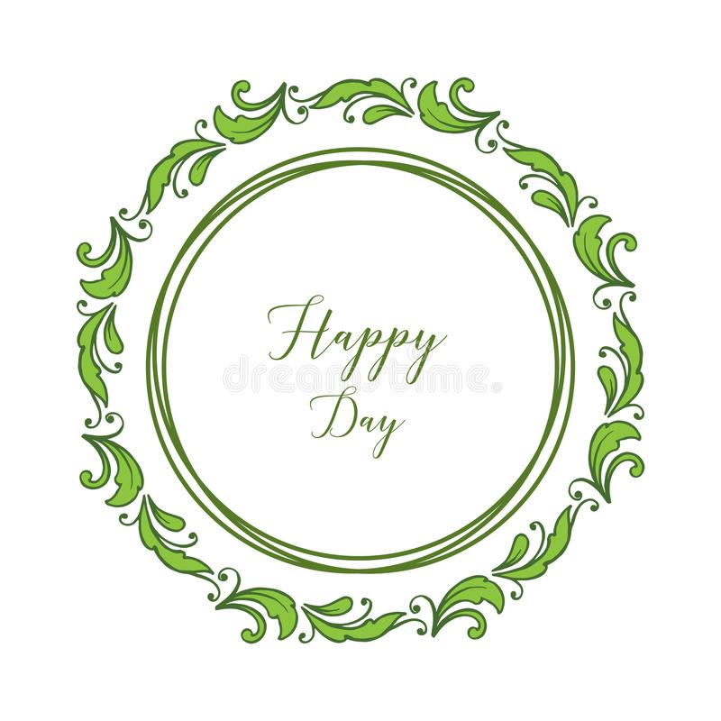Insegna della struttura del fiore dell'illustrazione di vettore con l'iscrizione del giorno con lettere felice illustrazione di stock