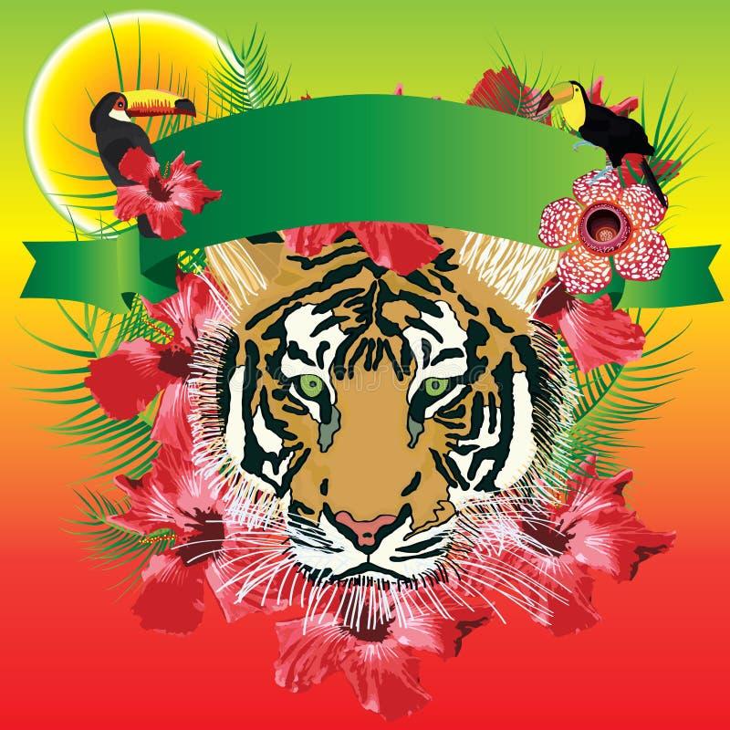 Insegna della tigre tropicale royalty illustrazione gratis