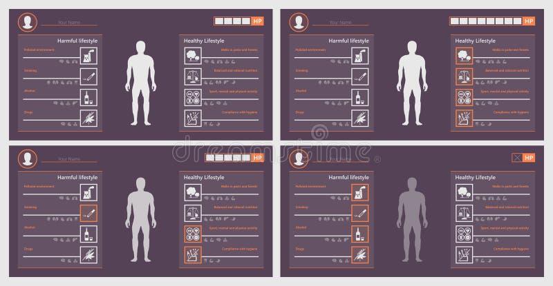 Insegna delle fasi del gioco di sanità, stile di vita illustrazione di stock