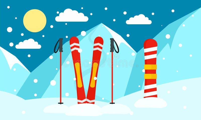 Insegna dello snowboard dello sci della montagna, stile piano royalty illustrazione gratis