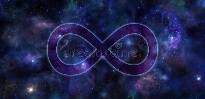 Insegna dello spazio profondo di simbolo di infinito illustrazione di stock
