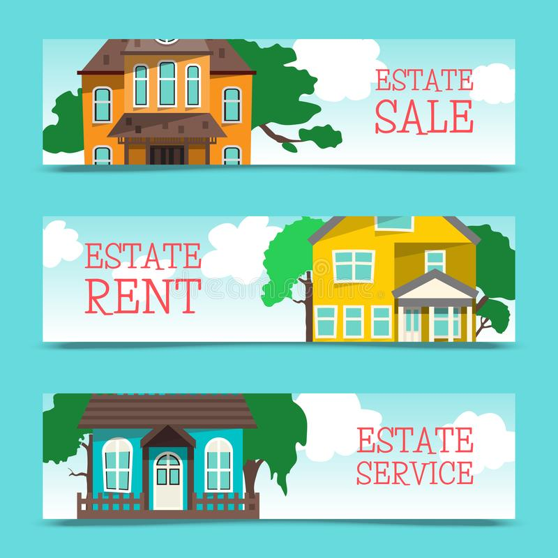 Insegna di affitto della Camera, selezione domestica, progetto di costruzione, concetto del bene immobile, illustrazione piana di illustrazione di stock