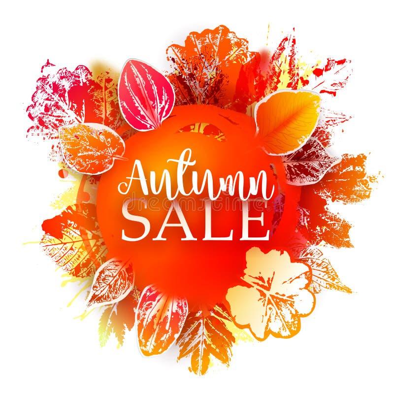 Insegna di Autumn Sale con le foglie del timbro a umido illustrazione di stock