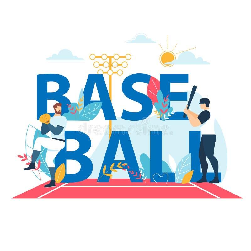 Insegna di baseball con tipografia, competizione sportiva royalty illustrazione gratis