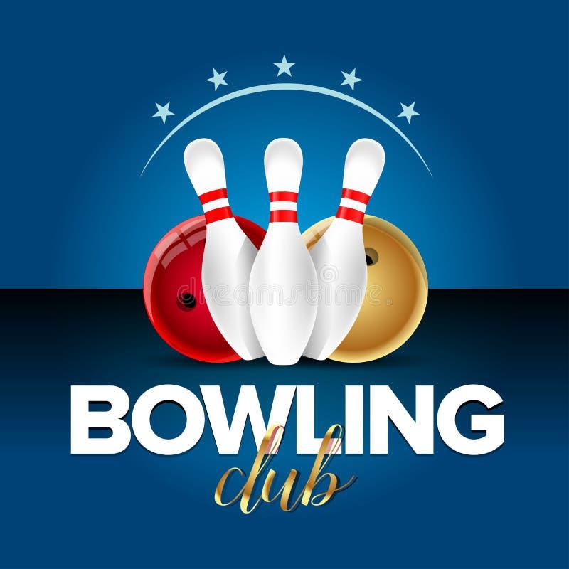 Insegna di bowling, modello della carta, club del campione di bowling e simboli delle leghe Illustrazione realistica royalty illustrazione gratis