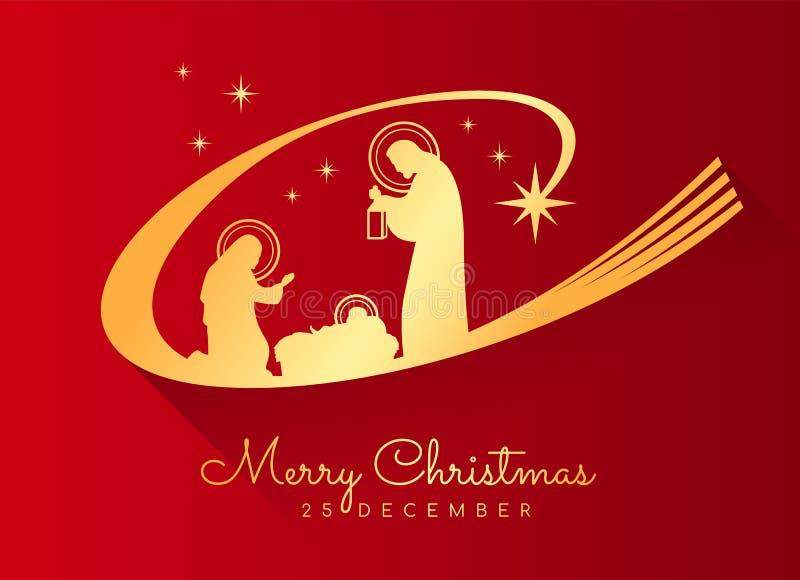 Insegna di Buon Natale con paesaggio notturno Mary e Joseph di natale dell'oro in una mangiatoia con il bambino Gesù su fondo ros illustrazione vettoriale