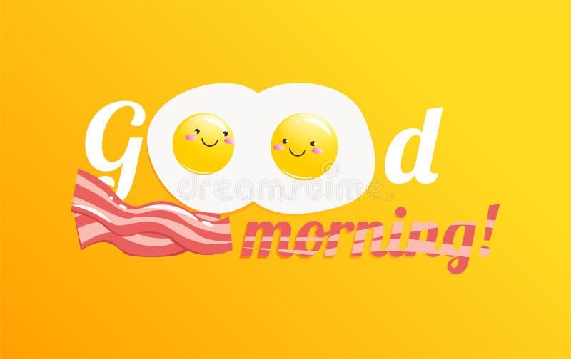 Insegna di buongiorno Prima colazione saporita classica delle uova e del bacon rimescolati royalty illustrazione gratis