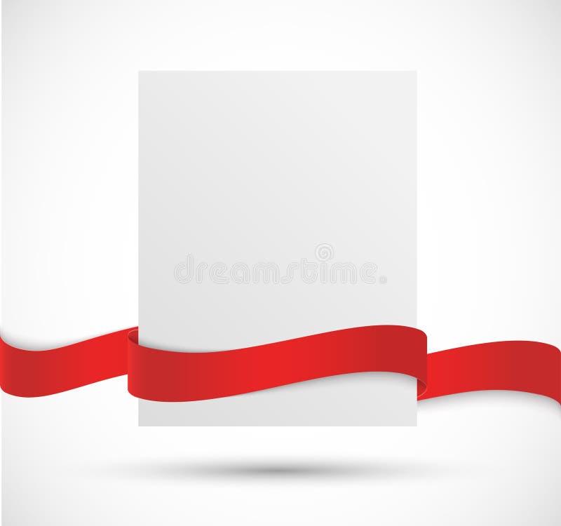 Insegna di carta con il nastro rosso illustrazione di stock